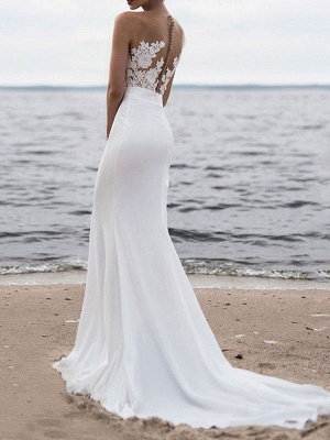 Polyester Sleeveless White Lace Buttons Mermaid Wedding Dresses_2