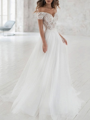 Off The Shoulder Sweetheart Tulle Lace White Wedding Dresses
