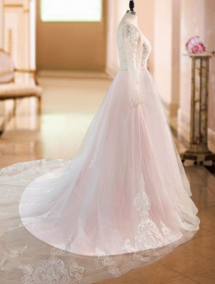 Gorgeous V Neck Backless Tulle Long Lace Wedding Dresses With Long Sleeves_5