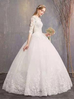Luxury Half Sleeves Jewel Tulle Lace Appliques Ball Gown Wedding Dresses_4