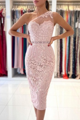 One Shoulder Light Purple Mermaid Prom Dresses With Lace Appliques