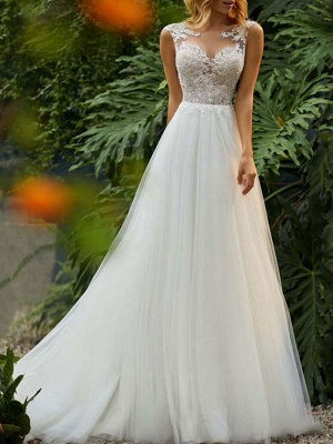 Gorgeous Sleeveless Tulle A-Line Ruffles Wedding Dresses With Lace