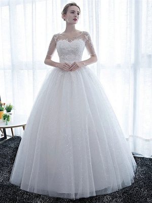 Half Sleeves Tulle White Lace Ruffles Ball Gown Wedding Dresses