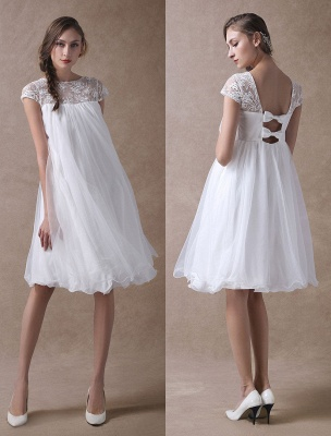Sweet Short Sleeves Tulle Lace Knee-Length Bow Wedding Dresses
