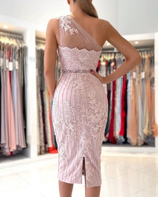 One Shoulder Light Purple Mermaid Prom Dresses With Lace Appliques_2