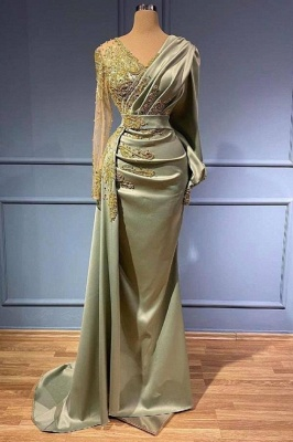 Gorgeous Long Sleeve V-Neck Mermaid Evening Gowns With Lace Appliques