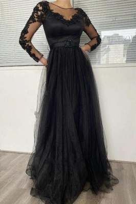 Sexy Black Long Sleeves Prom Dress Lace Evening Gowns