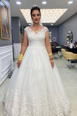 Graceful Tulle Sleeveless White Lace Sweetheart A-Line Wedding Dresses