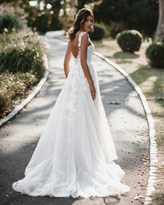 Gorgeous Sweetheart White Tulle Lace Backless  A-Line Wedding Dresses_2