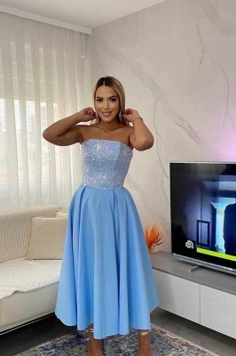 Chic Strapless Sky Blue Prom Dress Sequins Tea-length Party Gowns