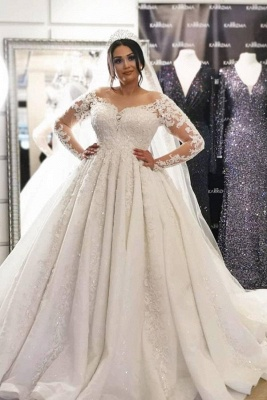 Plus Size Long Sleeve Lace Wedding Dress Tulle Bridal Gowns