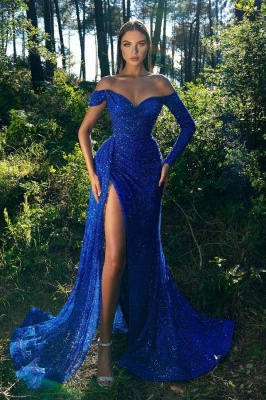 Royal Blue Off-the-Shoulder Long Sleeve Prom Dress Mermaid Sequins Evening Gown