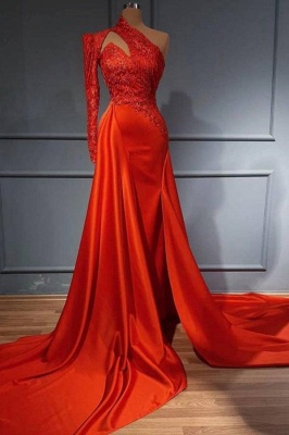 Red One Shoulder Long Sleeves Mermaid Prom Dress Split Lace Evening Gowns