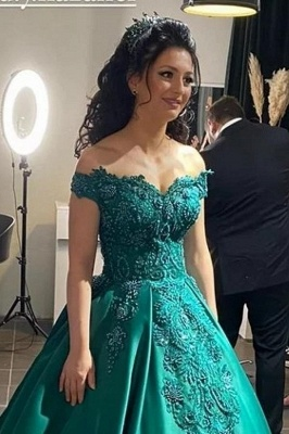 Green Off-the-Shoulder Lace Appliques Evening Gowns Online