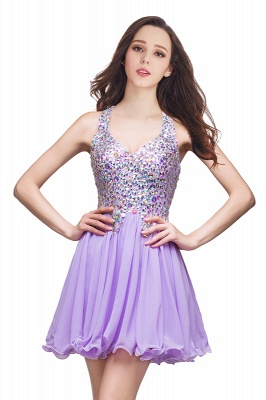 Chic Crisscross-straps Crystal Beads Ruffle Chiffon Sweetheart Short Prom Dress On Sale_2