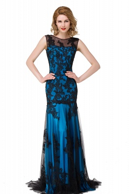 Scoop Neck Mermaid Black lace Applique Evening Prom Dress On Sale_5