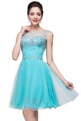 Open Back Sleeveless Chiffon Homecoming Dress Crystal Beads Tulle Short Prom Dress On Sale_9