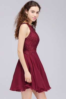 Burgundy A-line Homecoming Dress with Lace Appliques On Sale_6