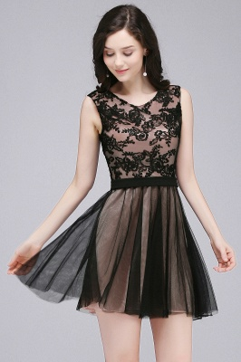 Short Lace Appliques Tulle Sleeveless Prom Dress On Sale_8