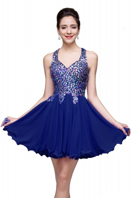 Chic Crisscross-straps Crystal Beads Ruffle Chiffon Sweetheart Short Prom Dress On Sale_4
