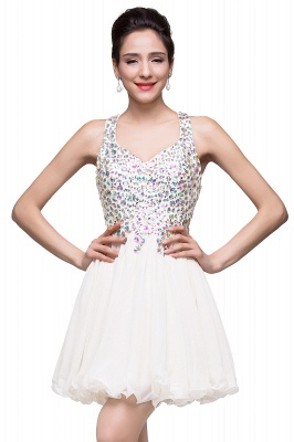 Chic Crisscross-straps Crystal Beads Ruffle Chiffon Sweetheart Short Prom Dress On Sale_1