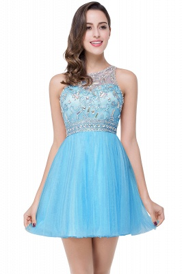 Simple Crew Beading Sleeveless Tulle Short Prom Dress On Sale_4