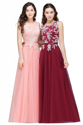 Pink A-line Prom Dress with Lace Appliques On Sale_2