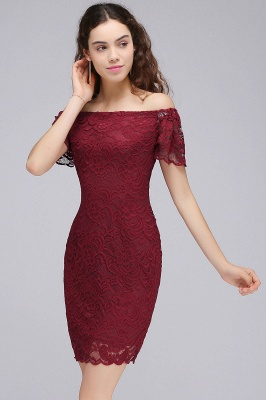 Burgundy Lace Sheath Homecoming Dress Short Sleeves Cocktail Dress On Sale_6