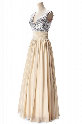 A-line V-neck Chiffon Party Dress With Sequined On Sale_9