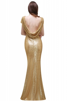 Women Sparkly Rose Gold Long Sequins Bridesmaid Dress On Sale_8