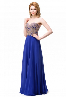 Women's Strapless Embroidery Beaded Prom Formal Dress On Sale_1