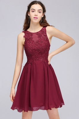 Burgundy A-line Homecoming Dress with Lace Appliques On Sale_7