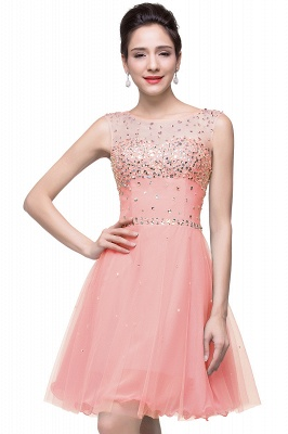 Open Back Sleeveless Chiffon Homecoming Dress Crystal Beads Tulle Short Prom Dress On Sale_1
