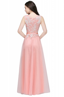 Pink A-line Prom Dress with Lace Appliques On Sale_5