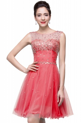 Open Back Sleeveless Chiffon Homecoming Dress Crystal Beads Tulle Short Prom Dress On Sale_2