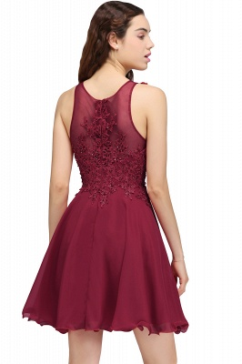 Burgundy A-line Homecoming Dress with Lace Appliques On Sale_3