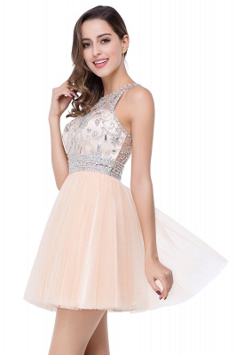 Simple Crew Beading Sleeveless Tulle Short Prom Dress On Sale_10