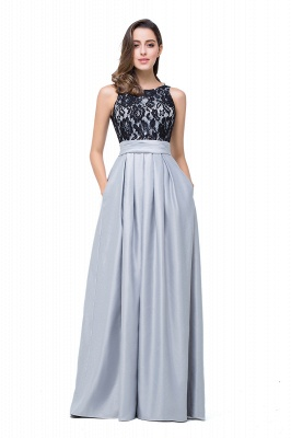 Simple A-line Crew Chiffon Open Back Lace Bridesmaid Dress On Sale_7