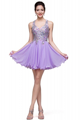 Chic Crisscross-straps Crystal Beads Ruffle Chiffon Sweetheart Short Prom Dress On Sale_11