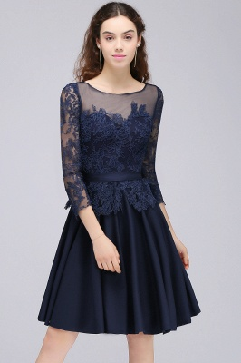 Dark Navy A-line Homecoming Dress On Sale_6