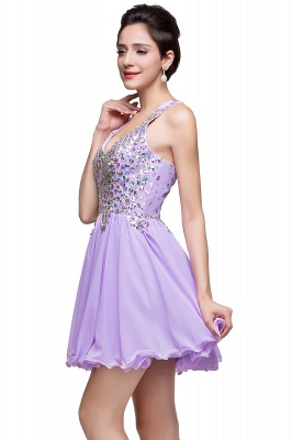 Chic Crisscross-straps Crystal Beads Ruffle Chiffon Sweetheart Short Prom Dress On Sale_13