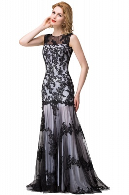 Scoop Neck Mermaid Black lace Applique Evening Prom Dress On Sale_9