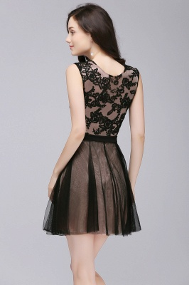 Short Lace Appliques Tulle Sleeveless Prom Dress On Sale_7