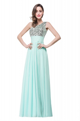 A-line Floor-length Chiffon Evening Dress with Sequined On Sale_2