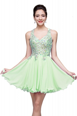 Chic Crisscross-straps Crystal Beads Ruffle Chiffon Sweetheart Short Prom Dress On Sale_6