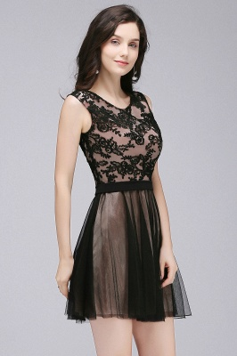 Short Lace Appliques Tulle Sleeveless Prom Dress On Sale_9