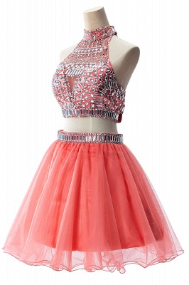 Sexy Crystal Beads Tulle Sleeveless Two-piece Short Prom Dress On Sale_12