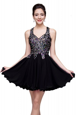 Chic Crisscross-straps Crystal Beads Ruffle Chiffon Sweetheart Short Prom Dress On Sale_5