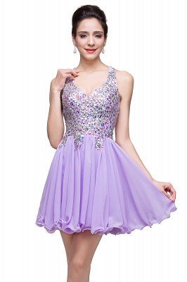 Chic Crisscross-straps Crystal Beads Ruffle Chiffon Sweetheart Short Prom Dress On Sale_14