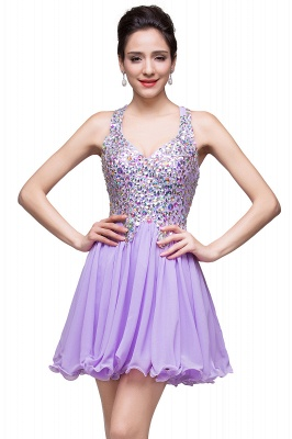 Chic Crisscross-straps Crystal Beads Ruffle Chiffon Sweetheart Short Prom Dress On Sale_10